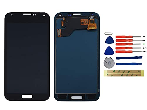 Yixi Pantalla para Samsung Galaxy S5 I9600 SM-G900 G900F Pantall LCD Pantalla Táctil Negro Repuesto de Pantalla Recambio (sin Marco)