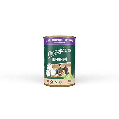 Christopherus Hundemenü, Mit Fasan, Amaranth, Pastinake, Vollnahrung für erwachsene Hunde, Nassfutter, 6 x 400 g