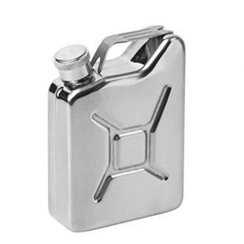 nbvmngjhjlkjlUK 5 Unzen Kanisteröl Kanister Schnaps Flachmann Kreative Wein Topf Edelstahl Kanister Kraftstoff Benzin Benzinkanister - Silber