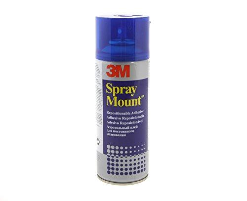 3M 051847 SprayMount Sprühkleber, mit mittelstarker Haftkraft, im feuchten Zustand repositionierbar, 400 ml, Blau