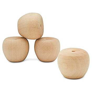 Unfinished Wood Mini Cherry Apple 3/4 inch Pack of 25 for Wooden Doll Head and Wood Crafts by Woodpeckers
