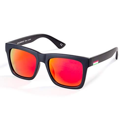 Colossein Classic Polarized Sunglasses For Men Retro Square Frame Mirrored Lens, UV400(Orange Lens/Black Frame)