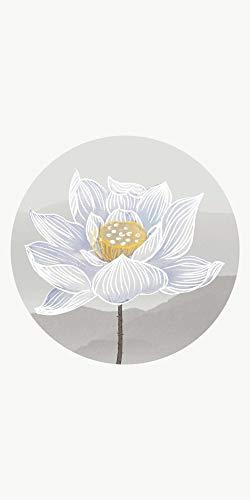 TFOOD raamfolie, esthetische esthetiek oosterse kunst lotusplantenstatische matte stickers opaak glasdecoratie, zelfklevende uv-bescherming voor keuken badkamer woonkamer