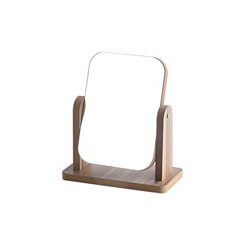 C-J-Xin Houten Spiegel, Meisje Desktop Cosmetische Spiegel Spin Dorm Kamer Volledige lengte Spiegel Rechthoek Draagbare Schoonheidsspiegel Mannen Vanity Spiegel Make-up spiegel