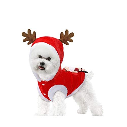 Holibanna Mascota Perro Gato Navidad Reno Disfraz Perro Ropa de Invierno Chaleco Traje de Navidad S