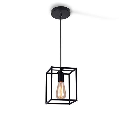 ENCOFT Lámpara Iluminación Colgante E27 Industrial Creativo Cubo, DIY Luz de Techo Colgante en Metal para Sala de Estar Dormitorio Comedor Cocina, Negro Sin Bombilla
