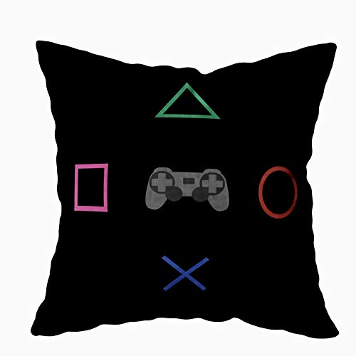 TOMKEY Couch Pillow Cases, Hidden Zippered 18X18Inch Flat Gaming Concept Amp Creative Computer Game Competition Simple Decorative Throw Cotton Pillow Case Cushion Cover for Home Decor,Black