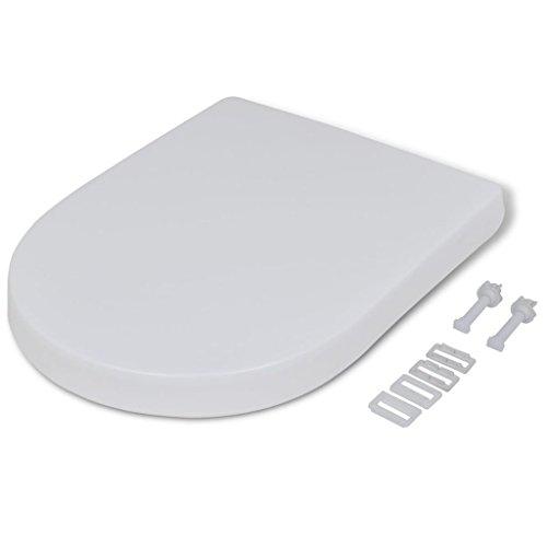 yorten Weißer WC-Sitz Toilettensitz mit Absenkautomatik Toilettendeckel Eckig für alle Standard Toilettenschüsseln 48 x 35 cm Quadratisch
