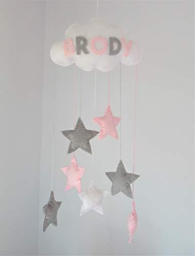 Filz Wolke Handgemacht Baby Mobile Kinderzimmer Dekor grau rosa Sterne