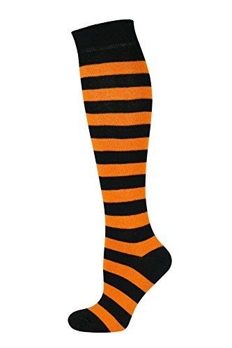 Mysocks Unisex Kniestrümpfe lange Socken Streifen Orange Schwarz