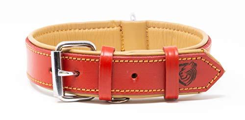 Riparo Collar de perro acolchado de cuero genuino Collar de mascota ajustable K-9 fuerte (L: 3,8cm de ancho para cuello de 45,7cm - 53,3cm, Rojo)