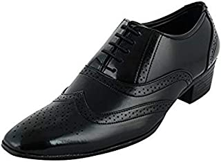 BXXY Men's Black Synthetic Height Increasing British Brogue Formal Shoes