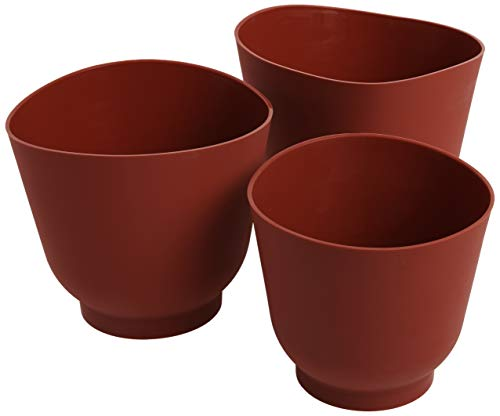 Norpro 3 Piece Silicone Bowl Set, Red, 6.5 x 6.5 x 6.2 inches, As Shown