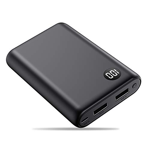 Kilponen Power Bank, Caricabatterie Portatile 13800mAh Ultra Compatta Batteria Esterna Carica Veloce 2 Porte USB Batteria Portatile per Cellulare, Tablet - Nero Opaco