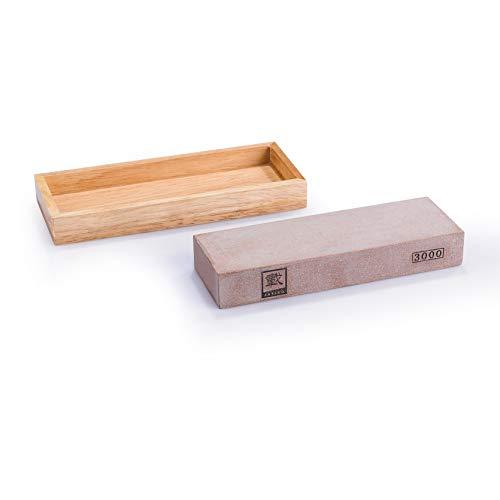 zayiko Schleifstein Polierstein mit Holzbox Wetzstein Körnung #3000 - Für optimale Schärfe nach dem Grundschliff