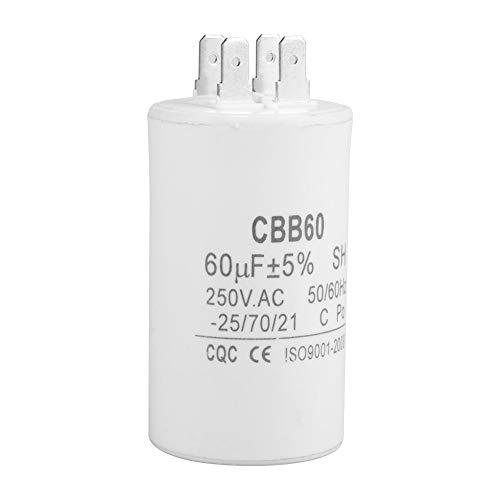 CBB60 Kondensator,CBB60 Startkondensator CBB60 Zylinderförmiger Durchlaufkondensator AC 250V 60uF 50 / 60HZ für Motorpumpe,hitzebeständig, explosionsgeschützt.