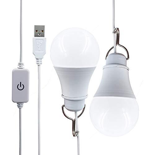 Bombilla LED USB de 7 W, blanco cálido, regulable, 2 unidades, cable incluido en el envío, para camping, senderismo, pesca, senderismo, luz de emergencia y otras actividades al aire libre