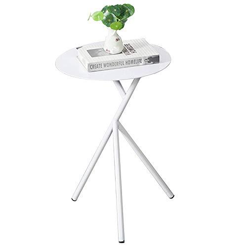 Afneembare salontafel/bijzettafel/smeedijzer kleine hoek, ruimte slaapkamer kleine tafel mobiel draagbaar wit (37×37×58cm)