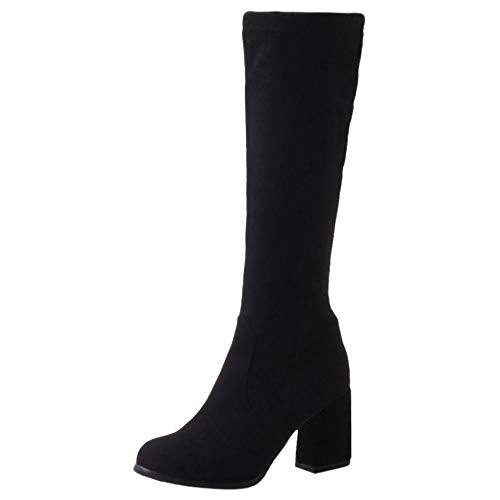 COOLCEPT Damen Stiefel Elegant Blockabsatz Knee Boots Stretch Stiefel Party Buro High Stiefel Black Gr 40 Asian
