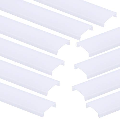 Muzata 10-Pack 3.3ft/1M Milky Plastic Cover Lens for U Shape Silver U1SW LED Aluminum Channel Dust Protect LC03 WW 1M, LA1