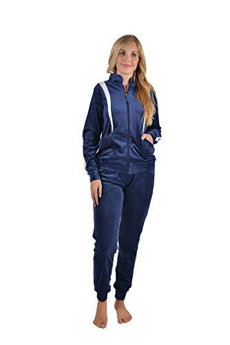 Raikou dames huispak trainingspak velours nikkel vrijetijdspak trainingspak joggingpak pyjama met ritssluiting, vrije tijd tweedelige set bovendeel en broek(Nachtblauw,44-46)