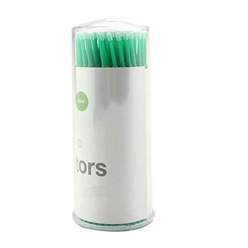 Lot de 100pcs Bendable Micro applicateurs Brosses écouvillons Micro Wands Tip Mascara Brosse pour Applicateurs Cils Extensions Outil de maquillage cosmétiques (vert M)