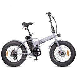 Smartway Monster Fat - Bicicleta eléctrica plegable, color plateado
