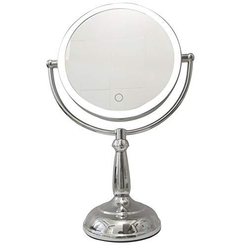 Miroir Miroir Maquillage La Coiffeuse à Double Face a mené Le Contact ajustent Le grossissement Triple léger ZHANGAIZHEN