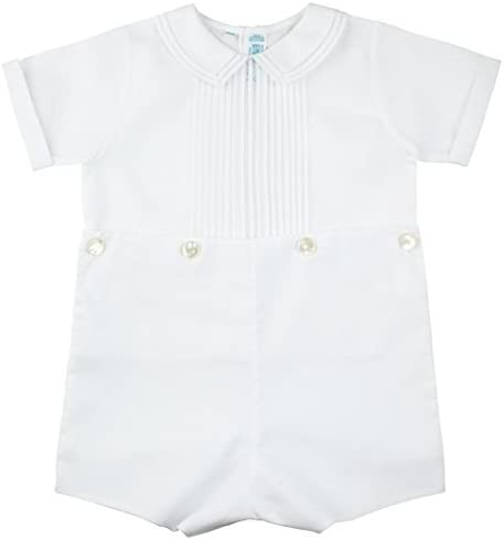 Feltman Brothers Baby Boys White Two Piece Bobby Suit