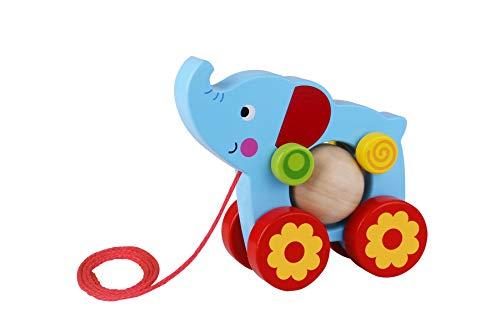 Tooky Toy Jouet à tirer Elephant en bois, TKE006, Multicolore