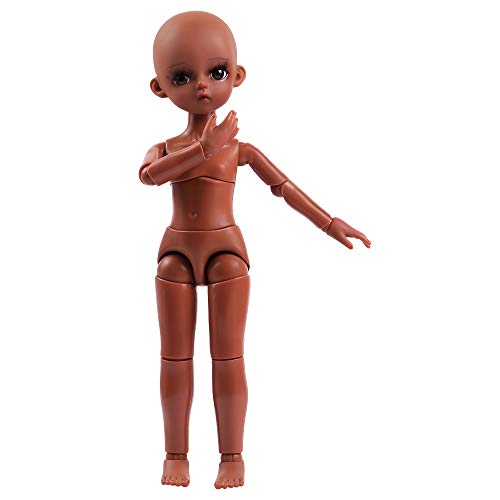 UCanaan Customized 1/6 BJD Doll 12 Inch Ball Jointed Dolls + Basic Makeup + Different Hands,Free to Change DIY Dolls(Brown)