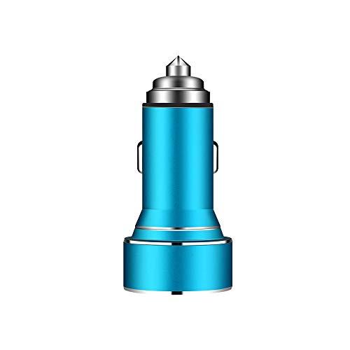 Qilo Cargador del Coche del Cargador del Coche rápido de Doble Puerto USB con el Dispositivo Inteligente-adaptativa Tecnología de Carga for teléfonos y tabletas (Color : Blue)