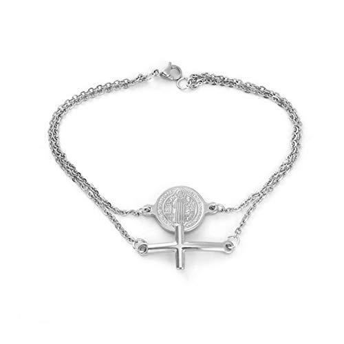 XYBB Medalla de Acero Inoxidable Encanto de la Cruz de Oro/Plata Color religiosas católicas Medallas Pulsera Pulsera (Color : 20cm, Size : Silver)