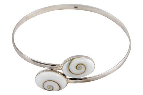 Vurmashop Armband aus 925er Sterlingsilber mit Santa Lucia Naturstein – Armband Shiva Auge für Damen – Mediterraner Schmuck