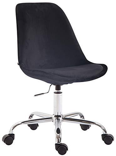 CLP Bürostuhl Toulouse Samt | Schreibtischstuhl Mit Leichtlaufrollen | Drehstuhl Mit Metallgestell In Chrom-Optik, Farbe:schwarz