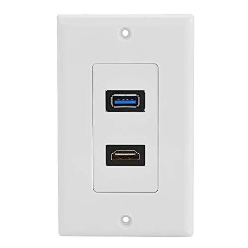 HDMI und USB 3.0 Dose Wanddose, Haofy Unterputzdose Wandplatte Steckdose, 2 Fach Anschluss, High Speed Anschlussdose Einbaudose mit Ethernet HDMI Kopf und USB 3.0 Kopf
