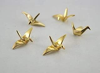 - 10pcs 3D Japanese Gold Origami Crane Beads Charms Pendants Birds Jewelry Japan PND-3