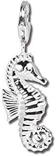 SilberDream Charm Seahorse 925 Sterling Silver Charms Pendant with Lobster Clasp for Charms Bracelet, Necklace or Charms Carrier FC1022