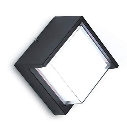 Lámpara de pared LED moderna, 12 W, LED Apliques de Pared exterior, carcasa de aluminio,cuadrada, Luz nocturna impermeable, Universal interior y exterior, Luz blanca fría (6000 K)
