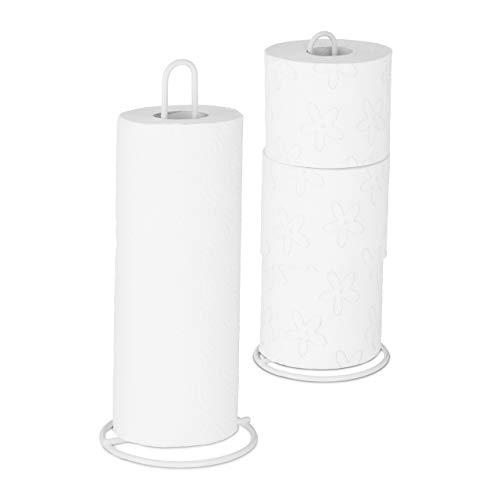 Relaxdays Küchenrollenhalter 2er Set, stehend, für Küchen- und Toilettenrollen, Metall, schlicht, HxD 32x13 cm, weiß