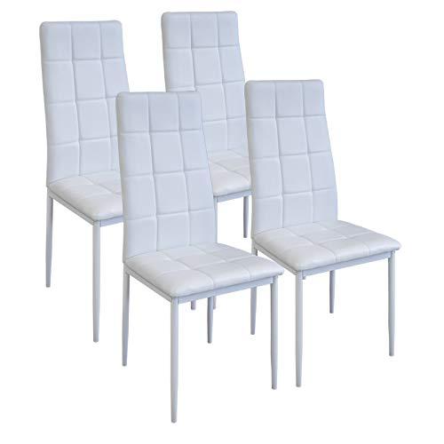 Albatros International GmbH Esszimmerstühle Rimini, 4-er Set Weiss, SGS gestestet