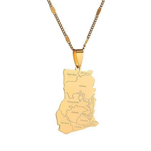 QDGERWGY Collares Pendientes de Mapa de Ghana de Color Dorado de Acero Inoxidable joyería de Cadena de Mapa de Ghana