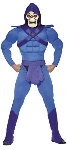 Halloween! Smiffys Muskelkostüm Skeletor, Blau, mit Overall, Gürtel, Stiefelüberziehern & Maske