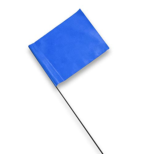 Blue Marking Flags 100 Pack - 4 x 5-Inch Flag on 15-Inch Steel Wire - Marker Flags for Irrigation, Sprinkler Flags, Lawn Flags, Yard Flags, Garden Flags, Dog Training, Invisible Fence