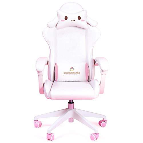 DGHJK Gaming-Stuhl Im Rennstil, Ergonomischer Bürostuhl Mit Hoher Rückenlehne, Verstellbare Arme, Kopfstütze Aus Pu-Leder, Rollender Drehstuhl