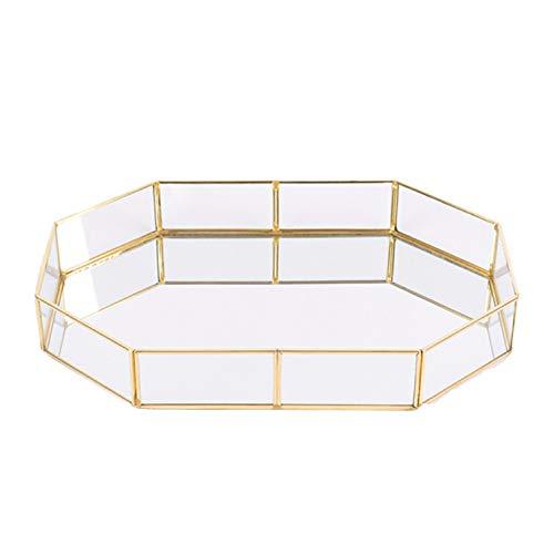 Kitchenmore Bandeja de Almacenamiento de Joyas Espejo de Vidrio Adornado de Metal Bandeja de Almacenamiento de cosméticos Plato Decorativo de Postre de té para tocador, baño, Dormitorio