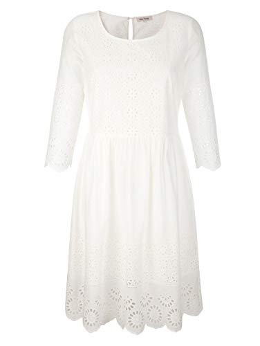 Alba Moda Figurbetontes Knielang Kleid mit 3/4-Ärmel in Weiß aus Baumwolle