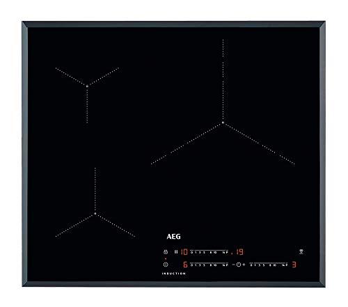 AEG IKB63435FB Placa inducción, Biselada, Extraplana 3 zonas, Control táctil deslizante, Calentamiento rápido, Sistema de conexión automática, Función Pausa, Negro, 60 cm