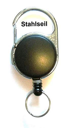 Waizmann.IDeaS® STAHLSEIL - Drahtseil - Ausweisjojo Jojo Zipper rund mit RING 15mm Ø Schlaufenclip Aufrollmechanismus SCHWARZ