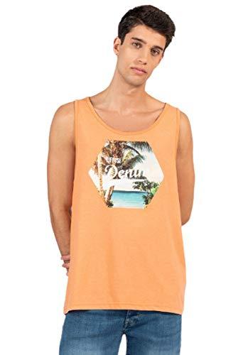 Tiffosi Camiseta de Tirantes para Hombre, Marca, en Color Naranja - Naranja, L
